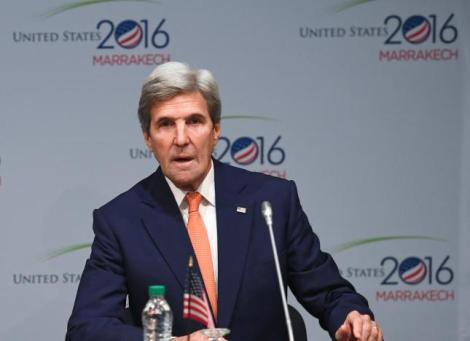 U.S. Secretary of State John Kerry speaks during a Major Economies Forum meeting at the COP22 climate change conference in Marrakech