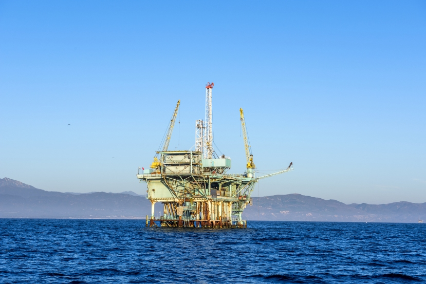 An oil platform off the coast of Santa Barbara run by Exxon Mobi