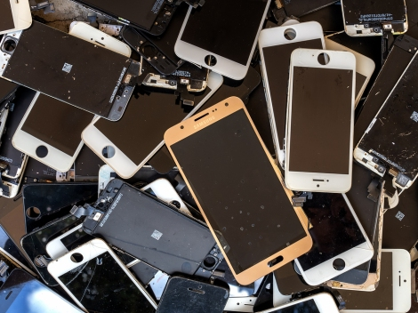 Chiang Rai, Thailand: August 23, 2017 - Heap Of Broken Smartphon