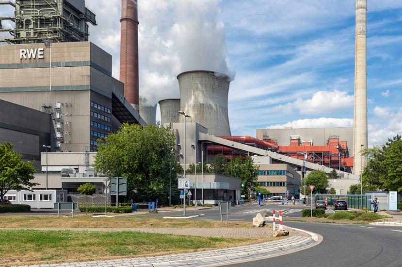 Frimmersdorf, Germany - June 27 2018: Workers Leaving Factory Ga