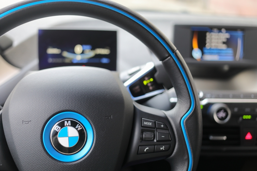 MOSCOW - APR 21, 2018: BMW car steering wheel in interior of coc
