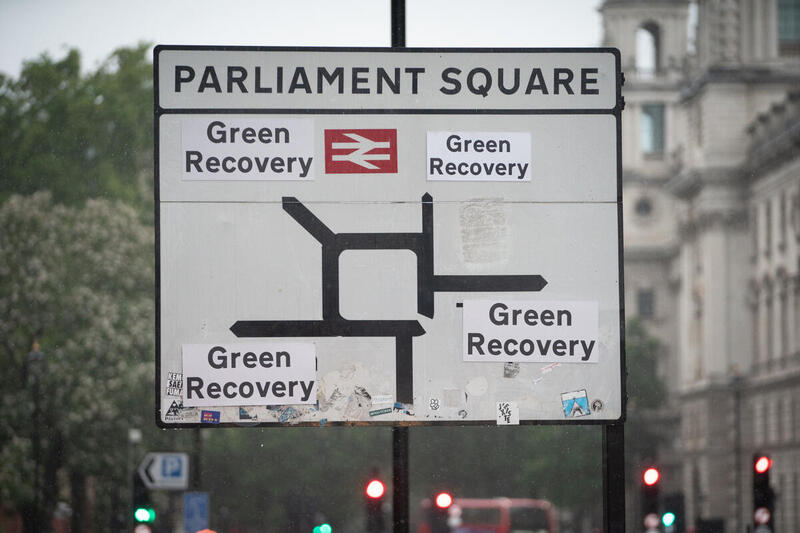 Green Recovery Road Signs around Westminster in London